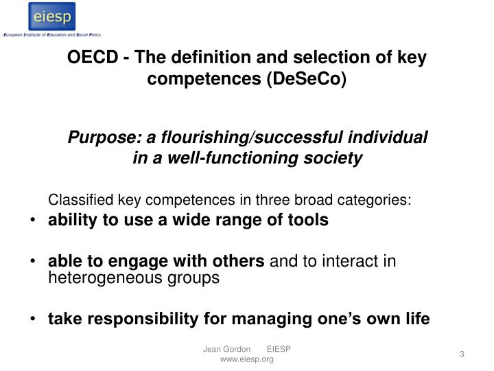 Oecd the definition and selection of key competences deseco