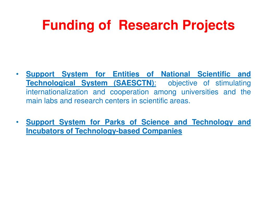 Funding of  Research Projects