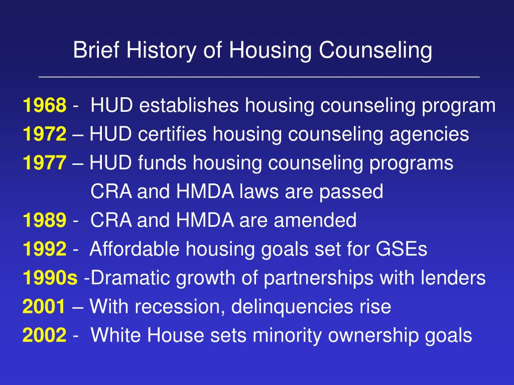 Brief History of Housing Counseling
