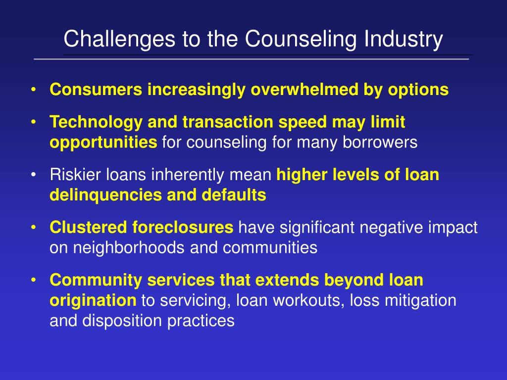Challenges to the Counseling Industry