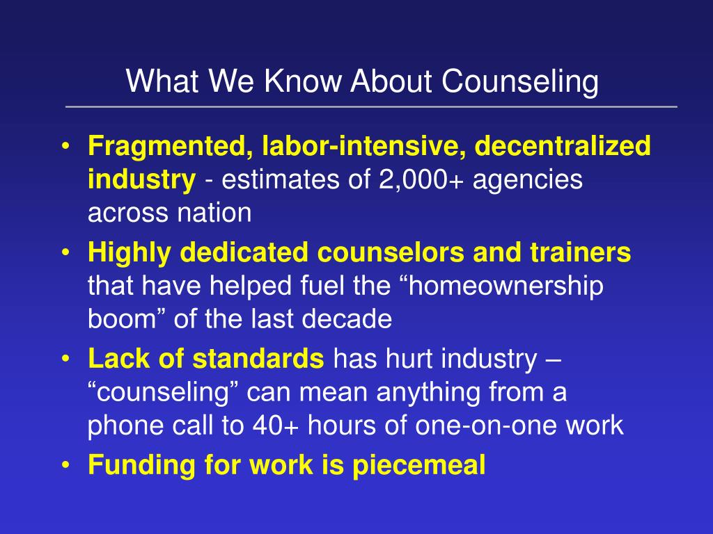 What We Know About Counseling