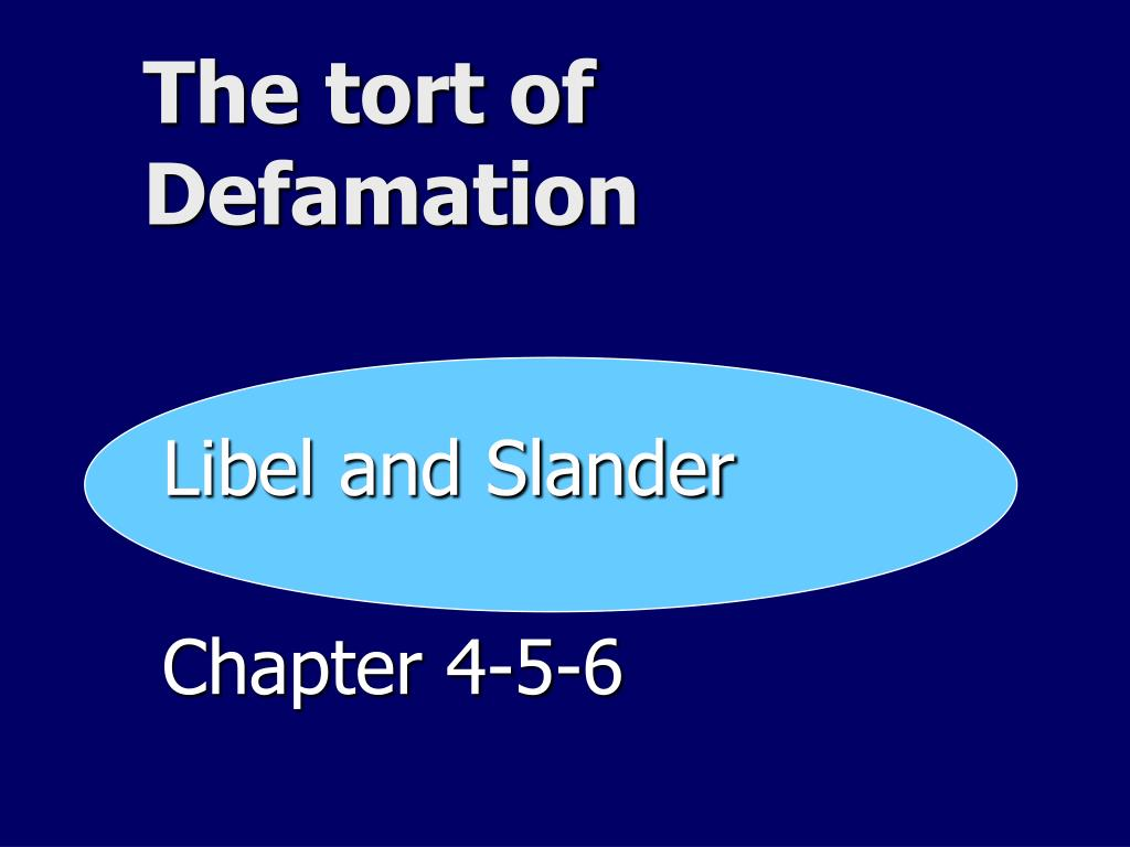 the tort of defamation l.