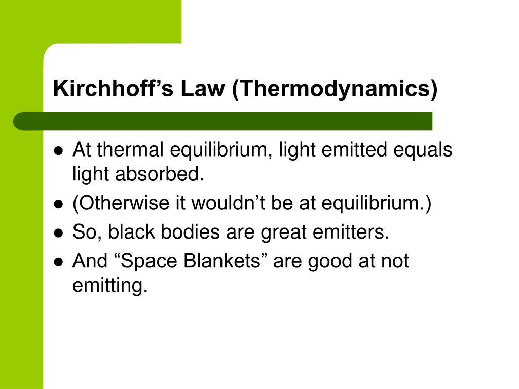 Kirchhoff's Law (Thermodynamics)