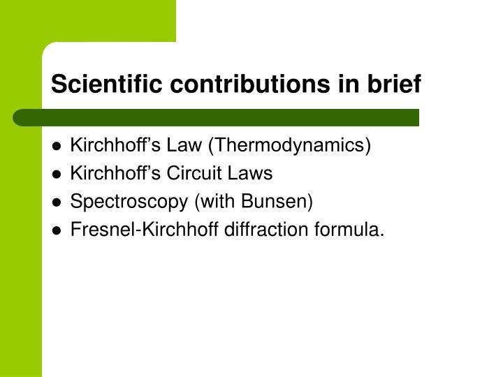Scientific contributions in brief