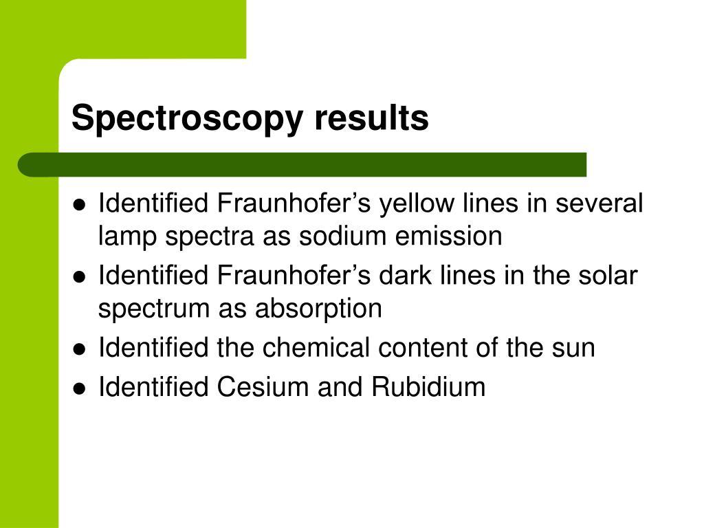 Spectroscopy results