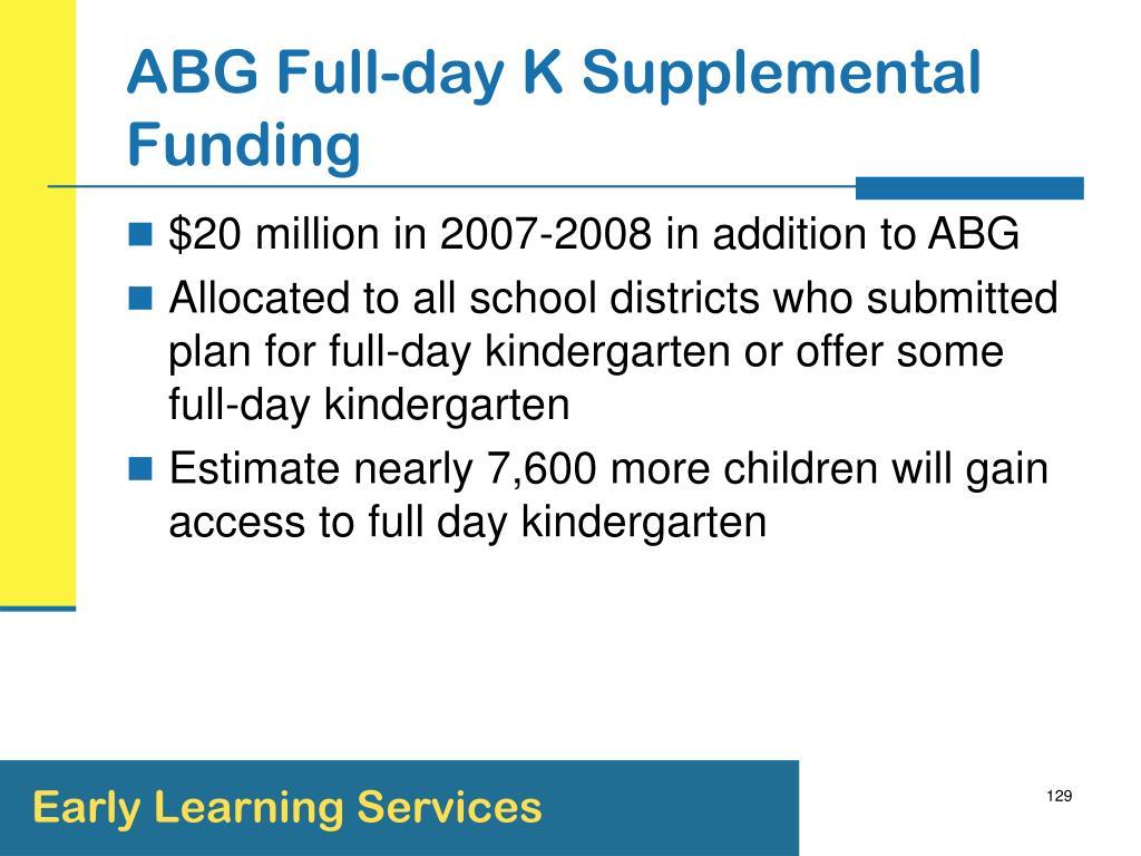 ABG Full-day K Supplemental Funding