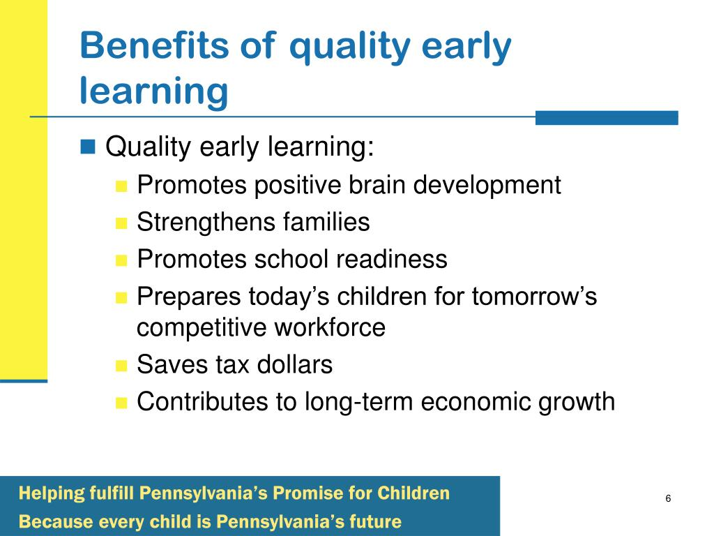 Benefits of quality early learning