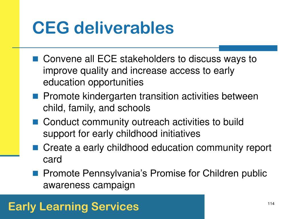 CEG deliverables