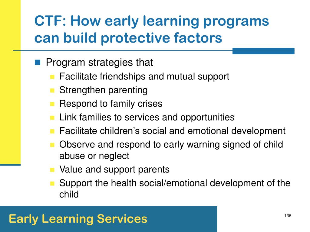 CTF: How early learning programs can build protective factors