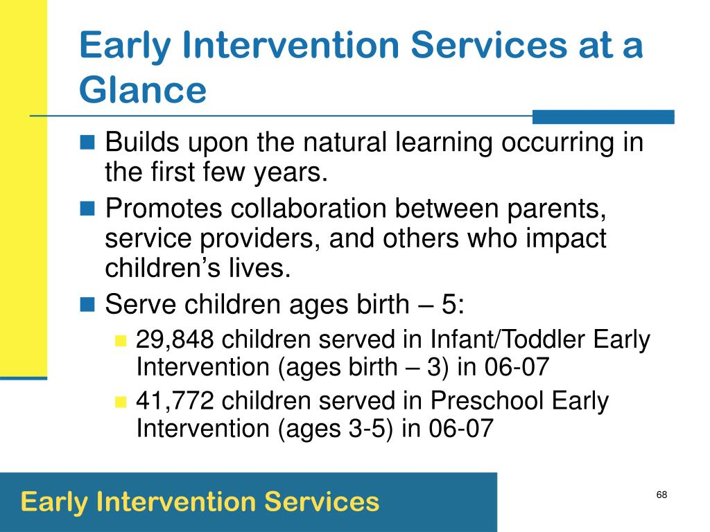 Early Intervention Services at a Glance
