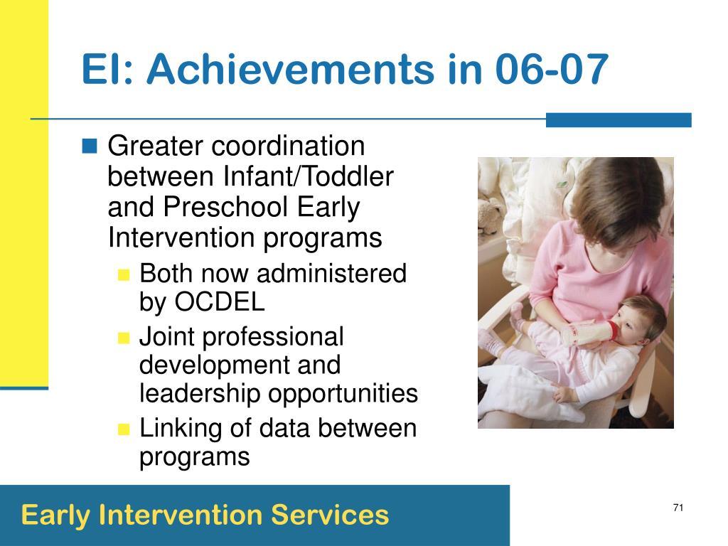 EI: Achievements in 06-07