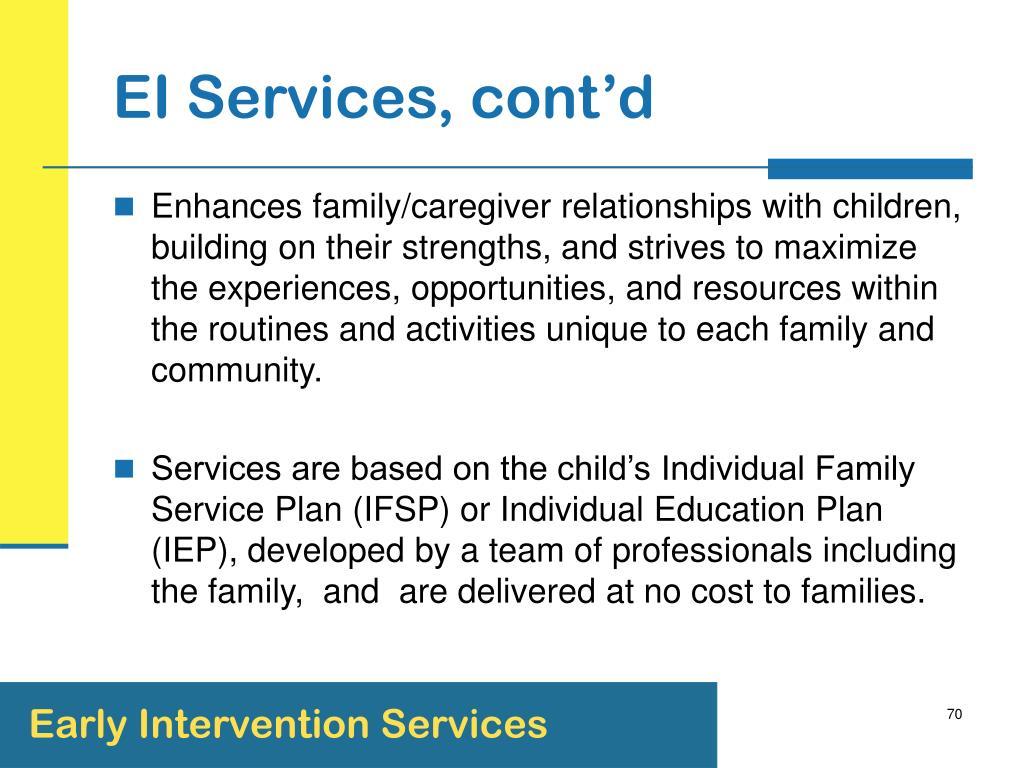 EI Services, cont'd