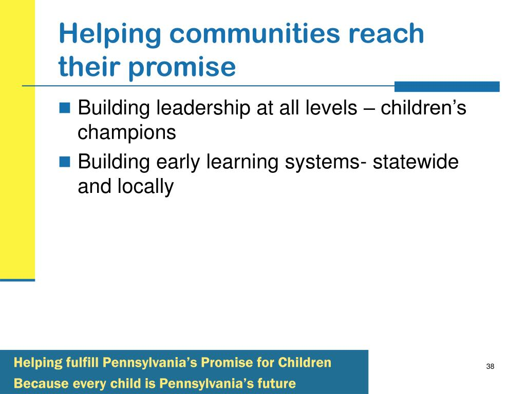 Helping communities reach their promise