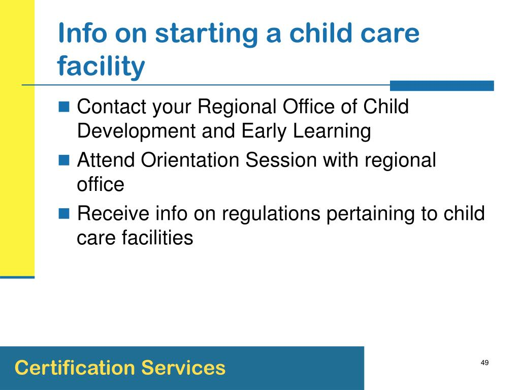 Info on starting a child care facility