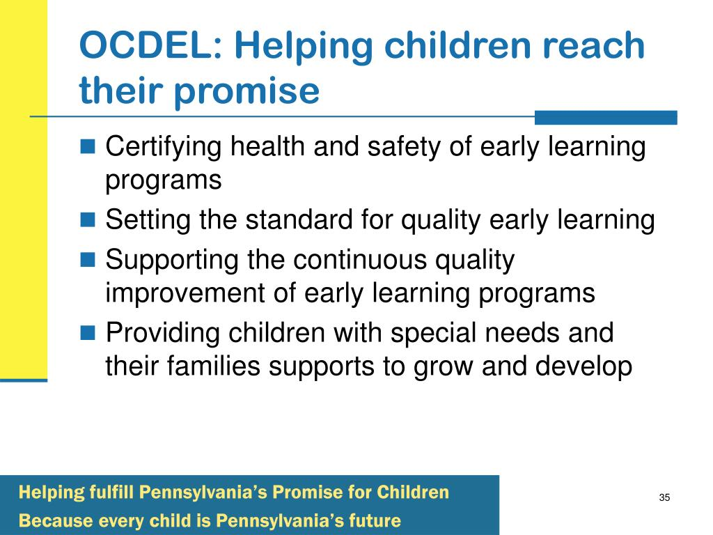 OCDEL: Helping children reach their promise