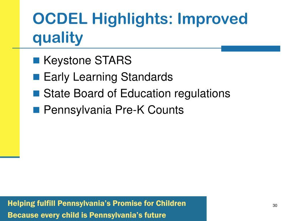 OCDEL Highlights: Improved quality