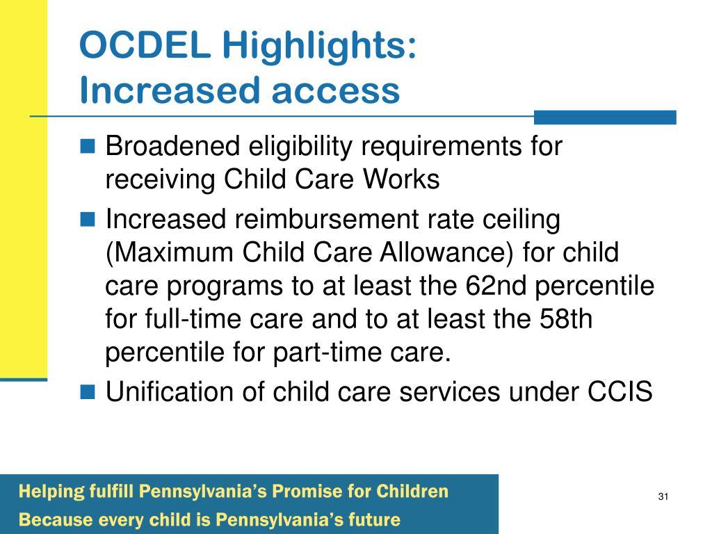 OCDEL Highlights: