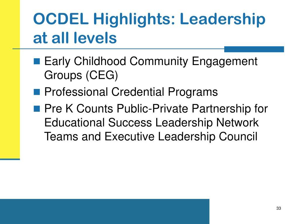 OCDEL Highlights: Leadership at all levels
