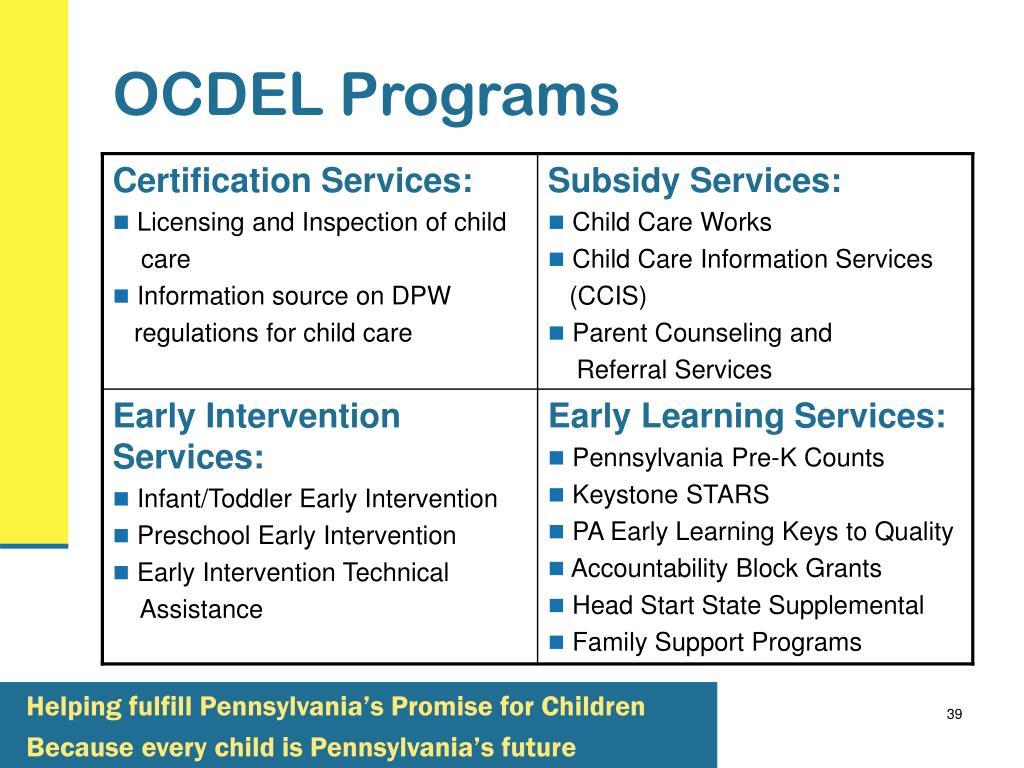 OCDEL Programs