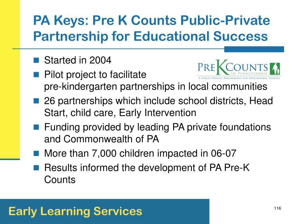 PA Keys: Pre K Counts Public-Private Partnership for Educational Success