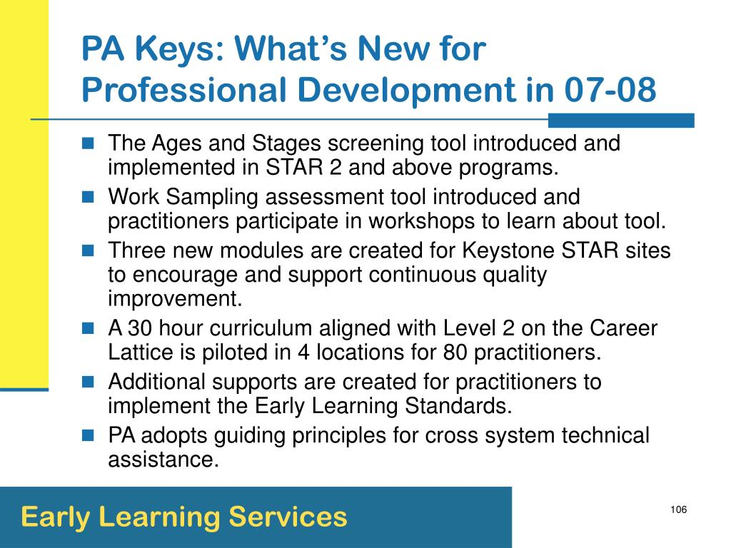 PA Keys: What's New for Professional Development in 07-08