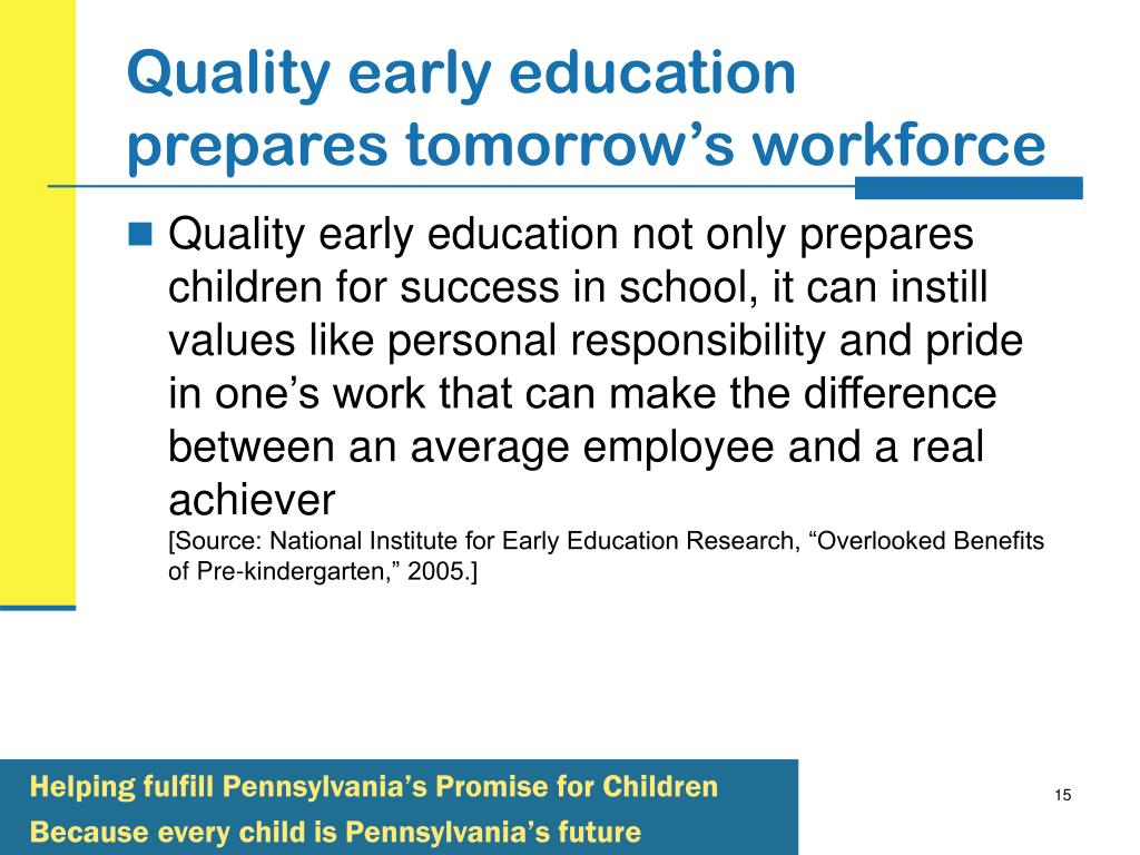 Quality early education prepares tomorrow's workforce