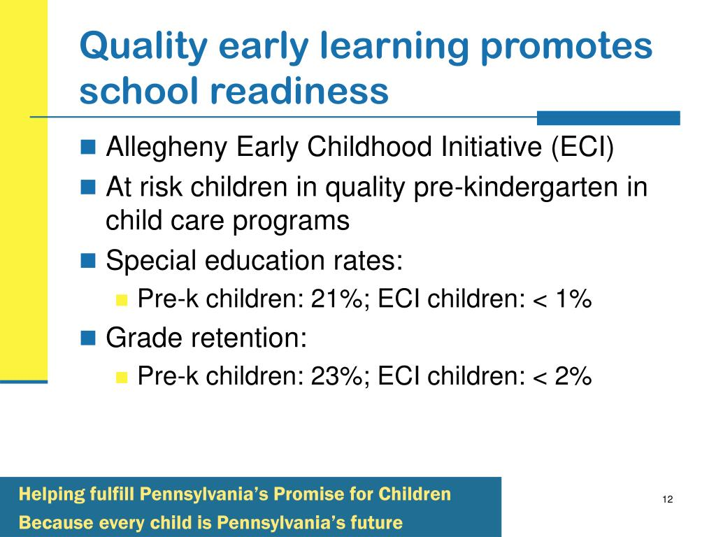 Quality early learning promotes school readiness
