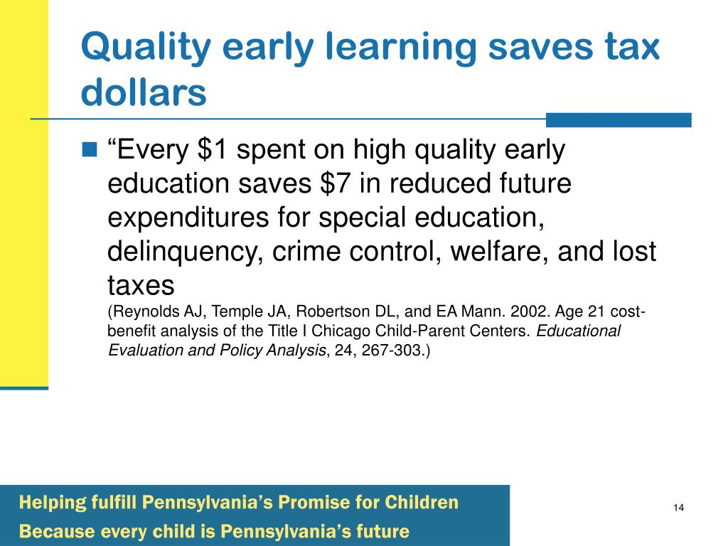 Quality early learning saves tax dollars
