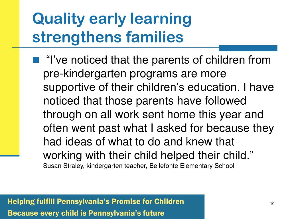Quality early learning strengthens families