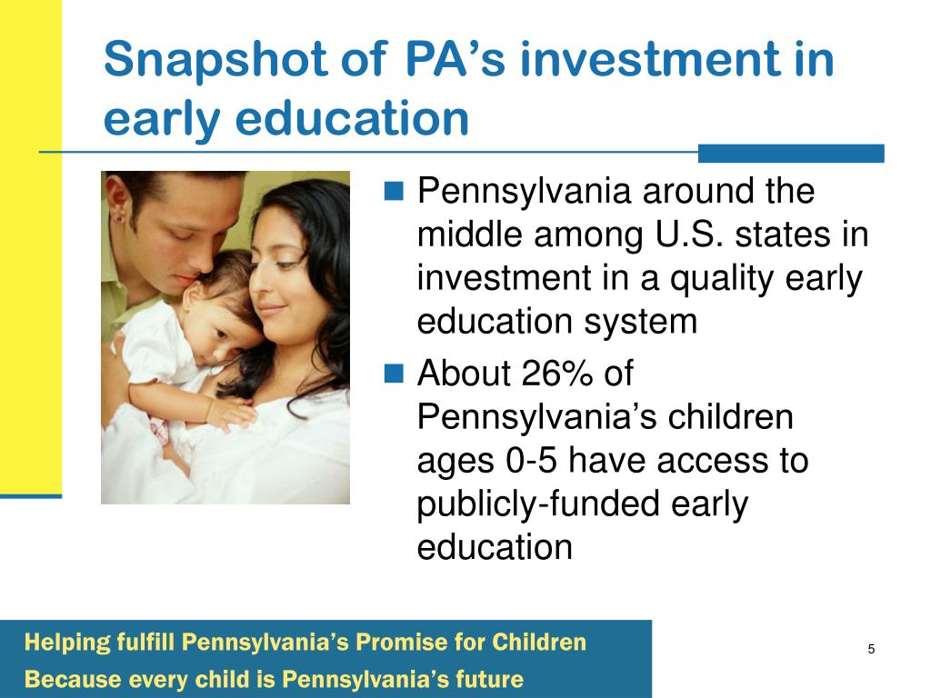 Snapshot of PA's investment in early education
