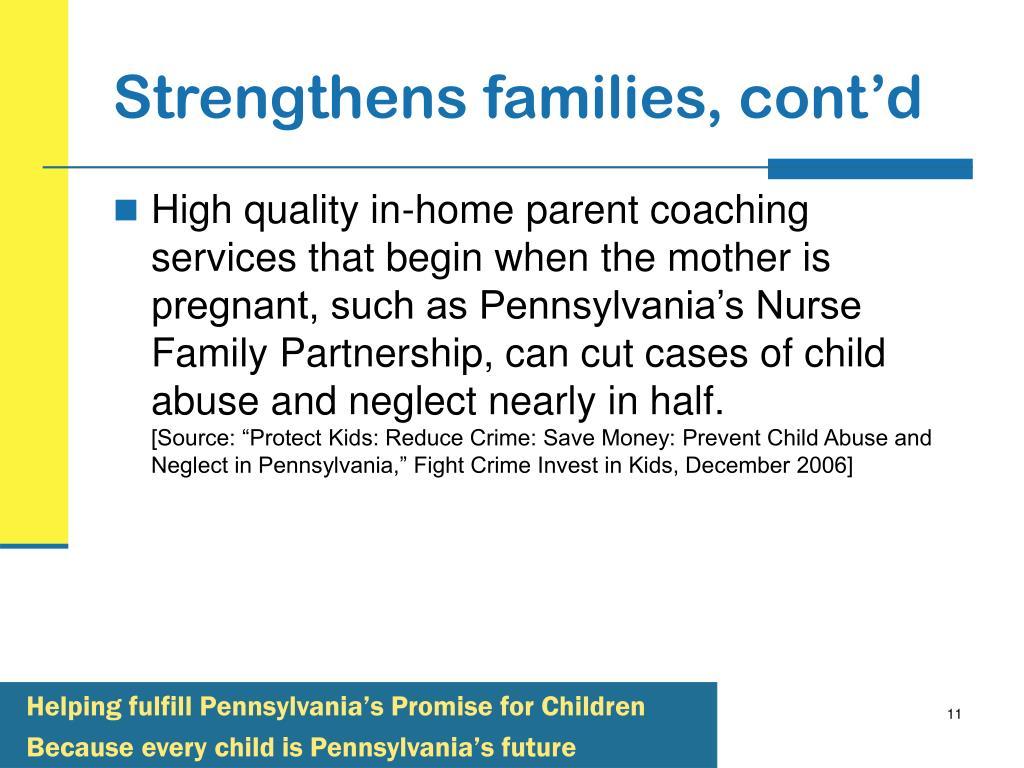 Strengthens families, cont'd