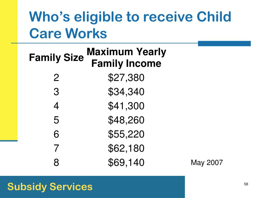 Who's eligible to receive Child Care Works