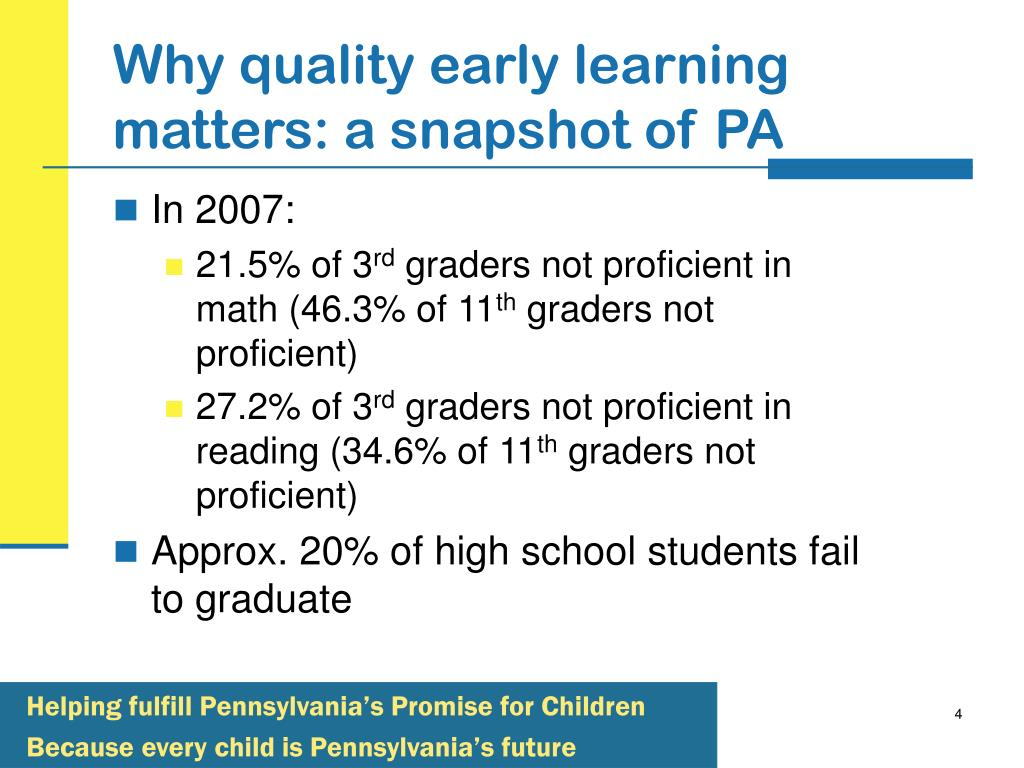 Why quality early learning matters: a snapshot of PA