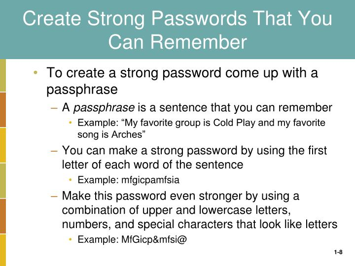 Create Strong Passwords That You Can Remember