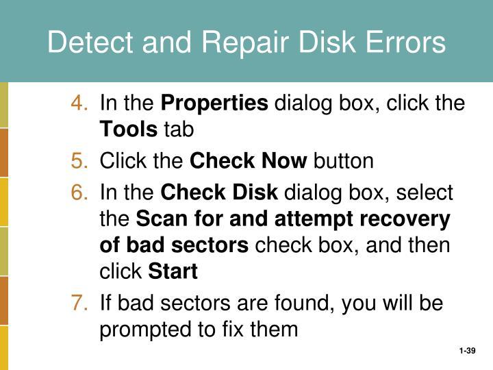 Detect and Repair Disk Errors