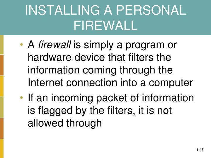 INSTALLING A PERSONAL FIREWALL