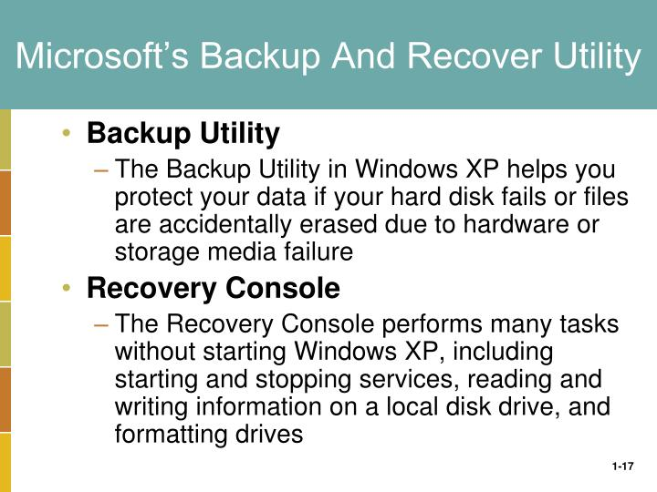 Microsoft's Backup And Recover Utility