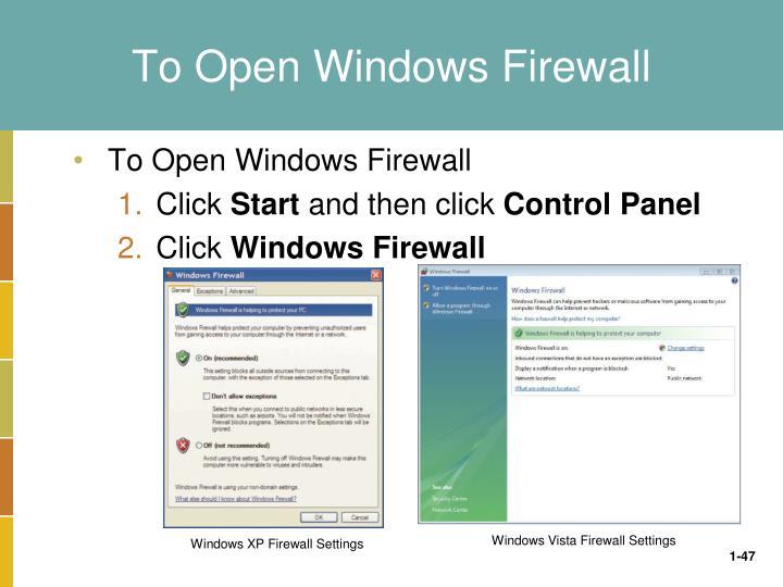 To Open Windows Firewall
