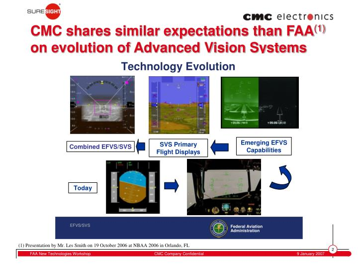 Cmc shares similar expectations than faa 1 on evolution of advanced vision systems