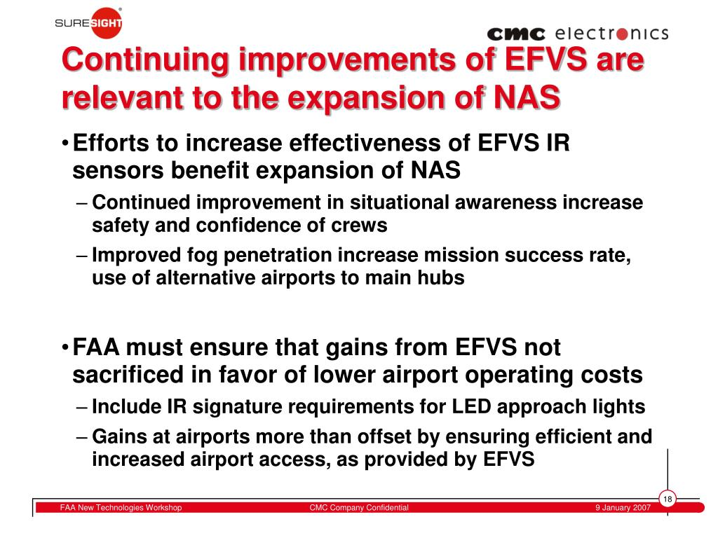 Continuing improvements of EFVS are relevant to the expansion of NAS