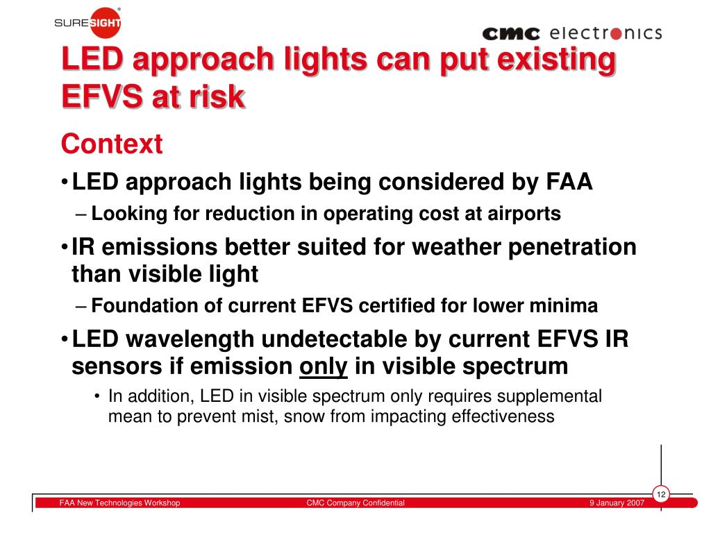 LED approach lights can put existing EFVS at risk