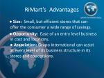 rimart s advantages