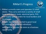 rimart s progress