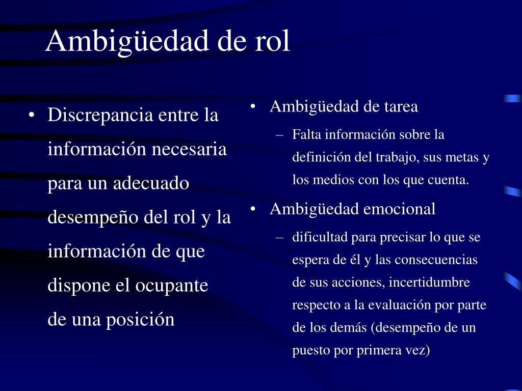 Discrepancia entre la información necesaria para un adecuado desempeño del rol y la información de que dispone el ocupante de una posición