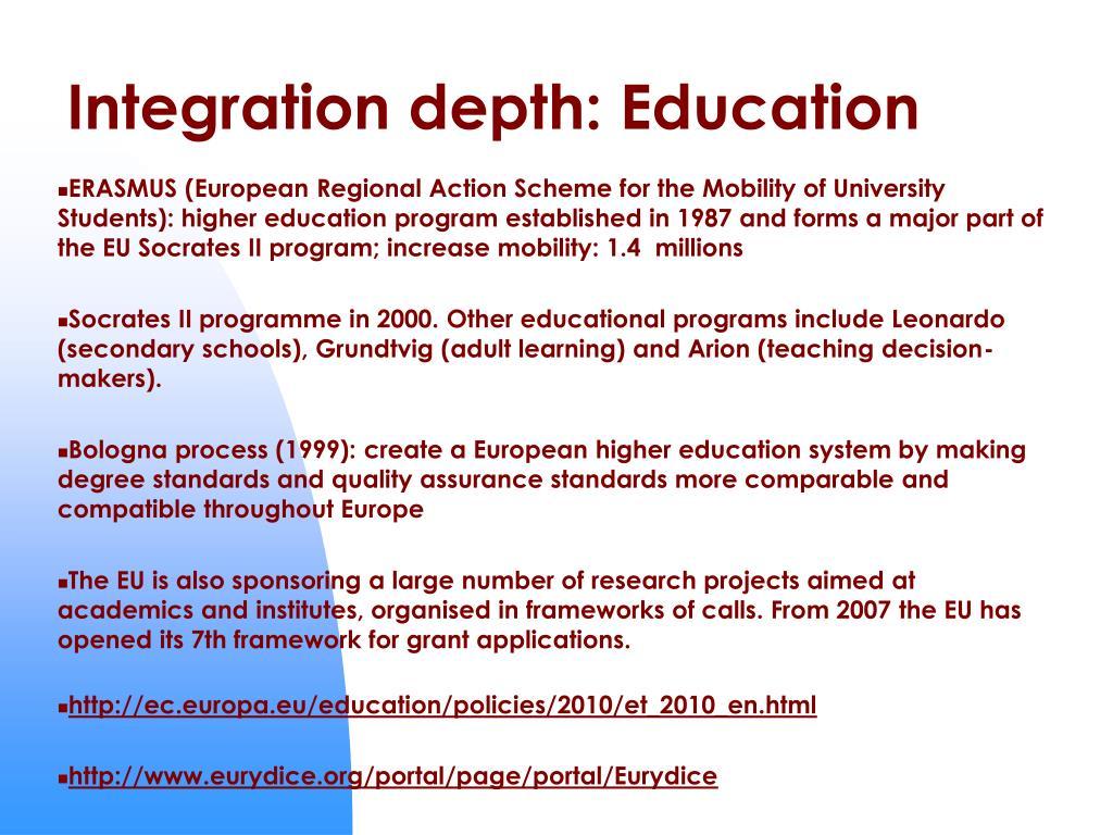 Integration depth: Education