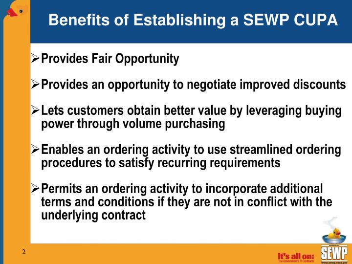 Benefits of establishing a sewp cupa