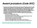 assent procedure code avc