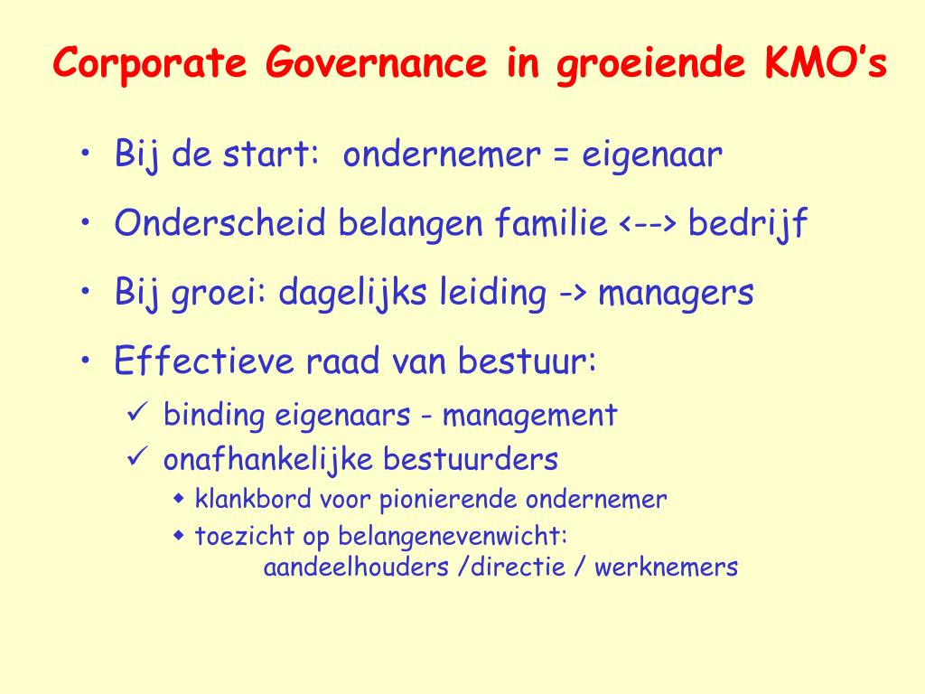 Corporate Governance in groeiende KMO's