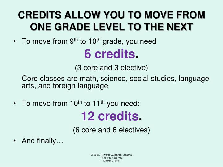CREDITS ALLOW YOU TO MOVE FROM ONE GRADE LEVEL TO THE NEXT