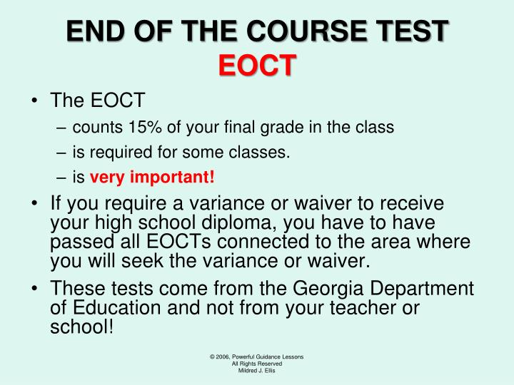 END OF THE COURSE TEST